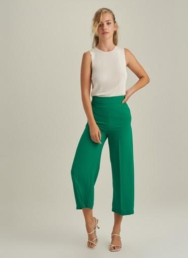 NGSTYLE Bol Paça Krep Pantolon Yeşil
